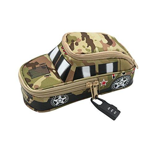 Astuccio Borsa Grande Capacità Camouflage piuma come i regali fuoristrada modello con lucchetto a combinazione borsa di stoccaggio mehrfunktional Astuccio per ufficio, ragazzo camouflage Gelb