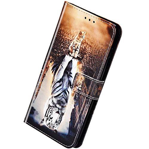Herbests Kompatibel mit Huawei Mate 30 Handyhülle Hülle Flip Case Bunt Muster Leder Tasche Schutzhülle Klappbar Bookstyle Lederhülle Ledertasche mit Magnet Kartenfach,Katze Tiger