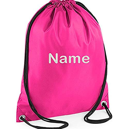 EMBROIDERED Personalised Drawstring GYM Bag Any Name Gym School Nursery Swim PE Dance Kit PINK