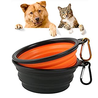 ANGTUO Collapsible Pet Bowl Food Water Carrier for Dogs Cats, Pack of 2