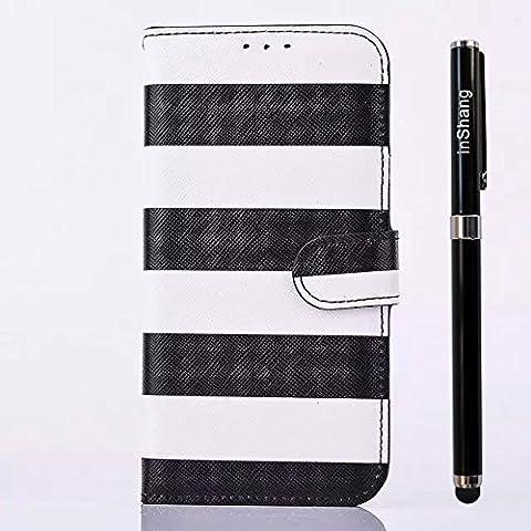 inShang Custodia per Samsung Galaxy S6, Custodie Case Cover Elegante Clip + build-in tasca + (Stripes Pouch)