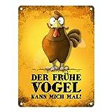 trendaffe - Metallschild mit Huhn Motiv und Spruch: Der frühe Vogel kann Mich mal