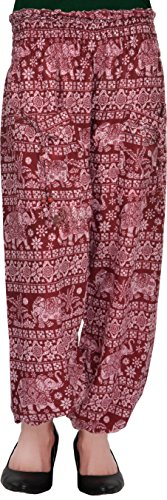 Harem Fashionable Stylish comfortable Regular Fit Printed Indo Western Bottom Wear Elastic Closure Ankle Length maroon pyjama for women's / girls/ ladies by Shop frenzy