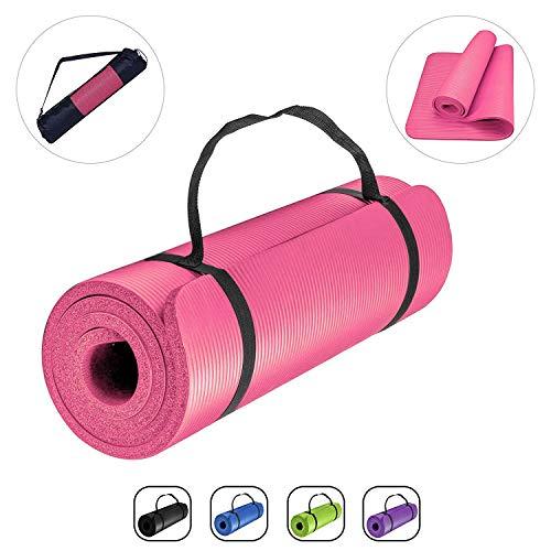 romix antiscivolo yoga mat, 15mm spesso ecologico leggero in schiuma di memoria tappetino palestra fitness per uomini donne, casa, professionale esercizi allenamento stretching pilates - rosso