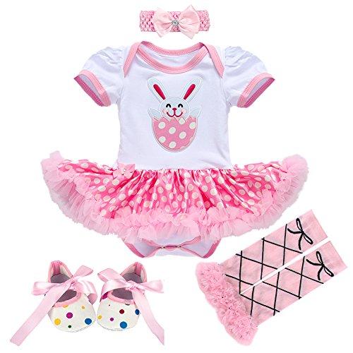 Obeeii Baby Mädchen 1. Ostern Ostereier Osterhase Outfit Prinzessin Kleid Kostüm Strampler Tutu Rock + Bowknot Stirnband + Beinwärmer + Schuhe 4pcs Bekleidungssets für Säugling Kinder 6-12 Monate (1-reise-hose)