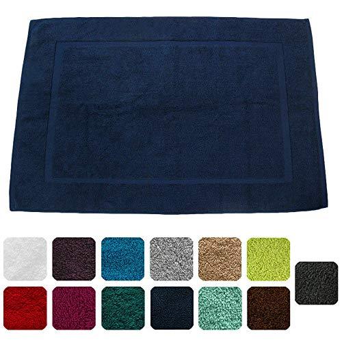 Lanudo® Badematte 900g/m² Pure Line 60x90 mit Bordüre. 100{077d425cb2f478027dd023239259ce21299750767f72b0ed386b2814879d3828} feinste Frottier Baumwolle in höchster Qualität, Bad-Teppich, Bad-Vorleger, Frottee. Farbe: Marine-Blau/Navy