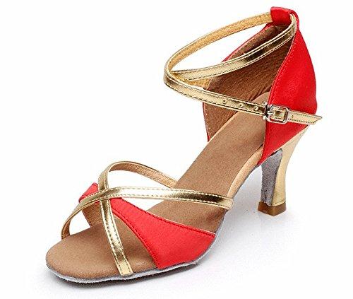 Vesi - Chaussures De Danse Latine Pour Femmes / Ballroom / Talon Standard 5cm / 7cm Rouge