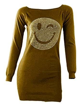 #1110 Damen Strick Pulli Longpullover Pullover Zwinker Smiley Silber Nieten One Size 34-36-38 (Gelb)
