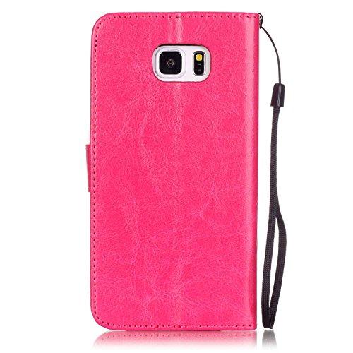 Prägen Blumen-Case, Magnetverschluss Synthetische PU-Leder-Kasten-Abdeckung mit hängenden Seil und Wallet-Funktion für Samsung ANMERKUNG 5 ( Color : Pink , Size : Samsung NOTE5 ) Rose
