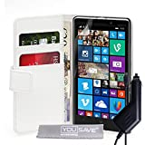 Yousave Accessories Coque Nokia Lumia 930 Etui Blanc PU Cuir Portefeuille Housse Avec Chargeur De Voiture
