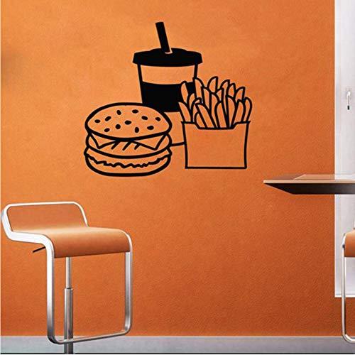 yiyiyaya Fast Food Wandtattoo Hot Dog Store Logo Wandtattoo Backwaren Home Küche Wandtattoo Fensterdekor 57 * 58cm