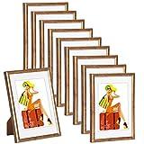 WOLTU 315 Bilderrahmen Bildergalerie Fotogalerie mit Passepartout, Foto Collage Galerie, Kunststoff und Echtglas, New Life Style, Bronze, 13x18 cm, 10er Set