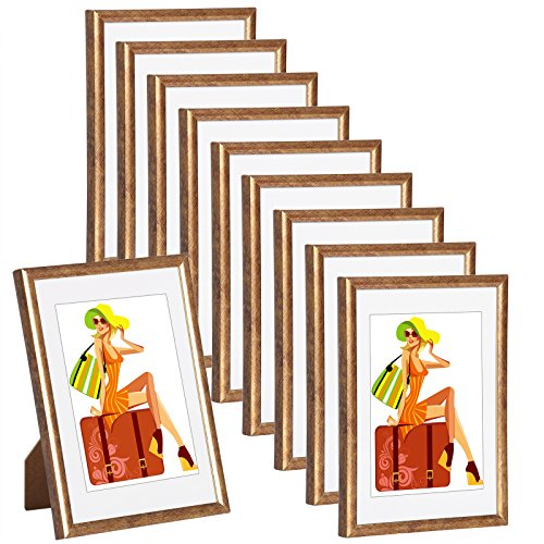 WOLTU #315 Bilderrahmen Bildergalerie Fotogalerie mit Passepartout, Foto Collage Galerie, Kunststoff und Echtglas, New Life Style,Bronze, 10x15 cm, 10er Set