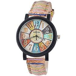 Souarts - Reloj de pulsera analógico para mujer, movimiento de cuarzo y correa de piel sintética de 24,5 cm, diseño vintage, color marrón