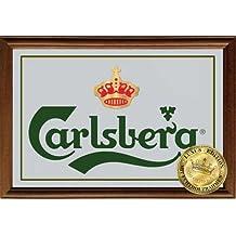 Empire Merchandising 610959, Carlsberg Crown, Specchio decorato con cornice in vero legno, 32 x 22 x 1,2 cm, Multicolore