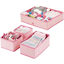 mDesign boîte de rangement pour chambre d'enfant en polypropylène (lot de 4) - bac de rangement pour accessoires de bébé - aussi comme organiseur de tiroir, armoire, table à langer - rose