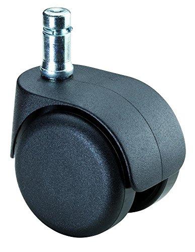 BS Rollen Bürostuhlrolle, Lenkrolle, Kunststoff schwarz, Ø 50 mm, Einschlagstift 10 mm, weiche Lauffläche für harte Böden