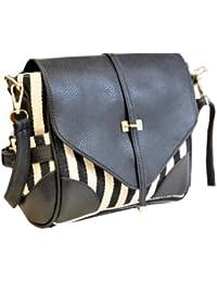 Le fashion faux noir bandoulière en cuir sac à main avec du coton noir et blanc par aimerfeel