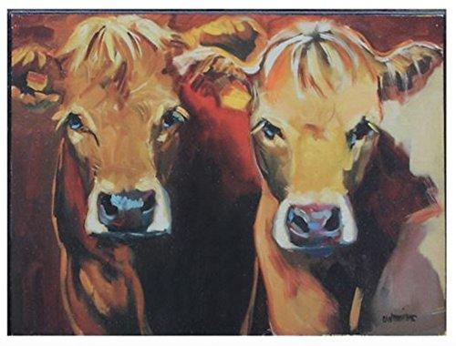 Creative co Zwei die Sich Braun Kühe Rustikal Pinselstriche 8x 5,75Holz Wandschild Aufschrift