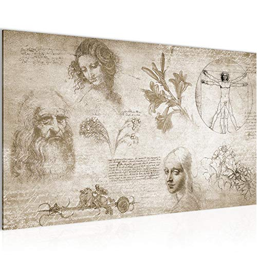 Bild Werke von Leonardo Da Vinci Wandbild Vlies - Leinwand Bilder XXL Format Wandbilder Wohnzimmer Wohnung Deko Kunstdrucke Braun 1 Teilig - MADE IN GERMANY - Fertig zum Aufhängen 700414a