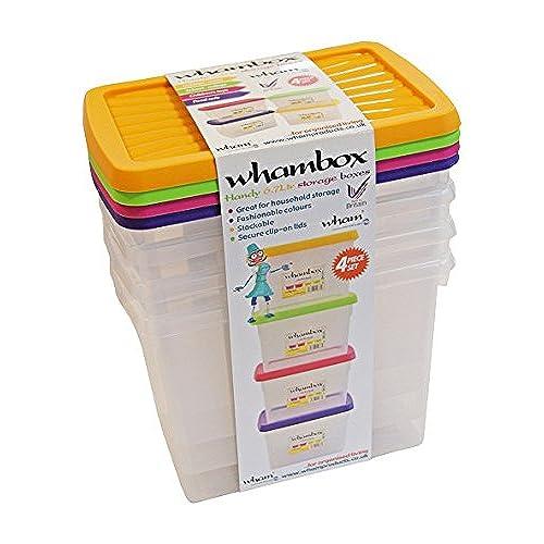 Wham® Box 4-Piece Storage Boxes Set Polypropylene 27.5 x 18 x 33.5 cm - Transparent 13114  sc 1 st  Amazon UK & Coloured Plastic Storage Boxes: Amazon.co.uk Aboutintivar.Com