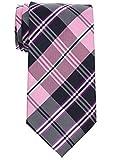 Retreez elegante de cuadros escoceses Tejido microfibra 3.15'hombres de la corbata Rosa Pink and...