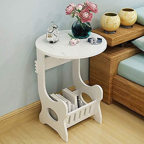 LYYJIAJU Kleiner Nachtnachttisch Beistelltisch, Konsole Tabelle Magazine Rack, Beistelltisch Sofatisch, modernes Design, robust und langlebig, Weiss -