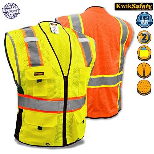 KwikSafety Orange Class 2Deluxe Sicherheitsweste | strapatzierfähige reflektierende Sicherheitsweste mit Reisverschluss und Taschen für Herren und Damen | Motorrad-, Polizei-, Radfahre-, Konstruktions-Arbeitsaustattung, gelb (Zwei Pocket-light Blue)