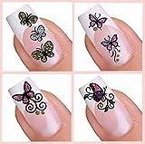 Selbstklebend Nail Art-Sticker Set–Butterfly Collection (011,060,008,065)