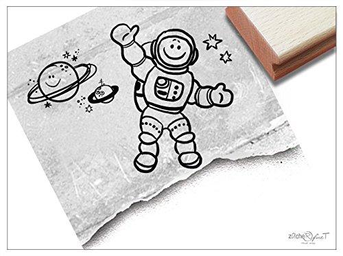 2 Stempel im Set - Motivstempel Astronaut & Planeten - Stempelset Kinderstempel Bildstempel Geschenk für Kinder - Kita Schule Basteln - zAcheR-fineT