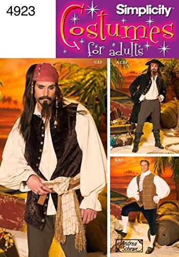 Simplicity Schnittmuster 4923AA Herren - Herren Piraten Kostüm Muster