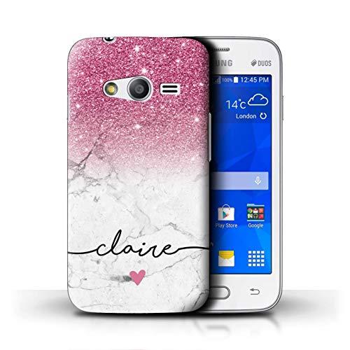 eSwish Personalizzato Glitterato Ombre Personalizzare Custodia/Cover per Samsung Galaxy Trend 2 Lite/G318 / Marmo Bianco Rosa Brillante Design/Iniziale/Nome/Testo Caso/Cassa