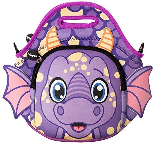 Fringoo® Kinder-Lunchtasche aus wärmeisoliertem Neopren, mit Reißverschluss und Schultergurt, ideal für Kindergarten und Schule, Kühltasche, Neopren, drache, 11.81 x 11.81 x 0.79 cm -