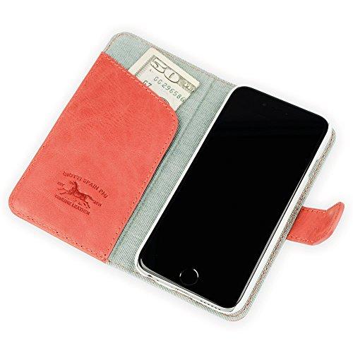 """QIOTTI >            APPLE iPHONE 6 / 6S (4,7"""")            < incl. PANZERGLAS H9 HD+ 2-in-1 Booklet mit herausnehmbare Schutzhülle, magnetisch, 360 Grad Aufstellmöglichkeit, Wallet Case Hülle Tasche handgefertigt aus hochwe DENIM 2.0 ROT JEANS"""