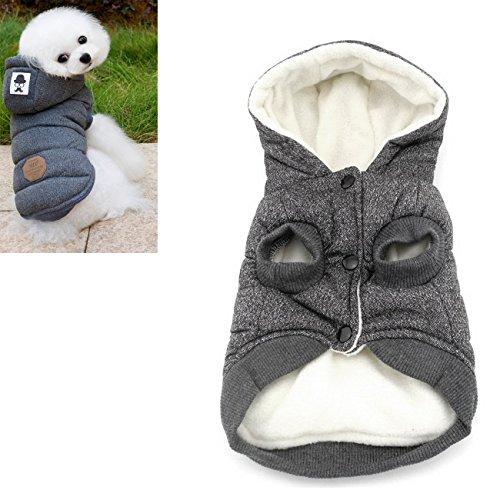 Kismaple Cane & Gatto, giacca, felpa, piumino invernale, anumale domestico cappotto con cappuccio, vestiti caldi per piccolo Cani (S (torace: 32 cm, collo: 23 cm), Grigio)