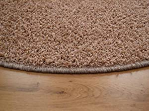 Cargo Circular Light Brown Shaggy Pile Rug. Available in 5 Sizes. from Rugs Supermarket