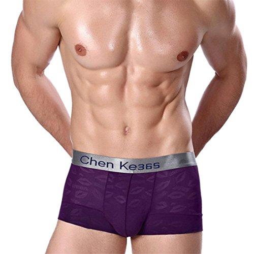 Boxershorts Btruely Herren Unterwäsche Kurze Hose Männer Unterhose Weich Nachtwäsche Sexy Atmungsaktive Drucken Sleepwear (XXL, Lila) (Elasthan Drucken Slip)