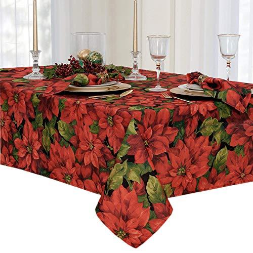 Stoff Traditionellen Tabelle (newbridge Weihnachten Stoff Tischdecken und Platzsets, Polyester-Mischgewebe, Ponsettia Celebration, 60