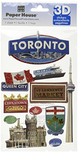 Papier House PRODUCTIONS stdm-0166e 3D-Karton Aufkleber, Toronto (3er Pack)