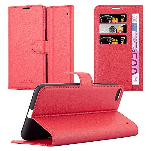 Cadorabo Hülle für HTC One X9 - Hülle in Karmin ROT - Handyhülle mit Kartenfach und Standfunktion - Case Cover Schutzhülle Etui Tasche Book Klapp Style