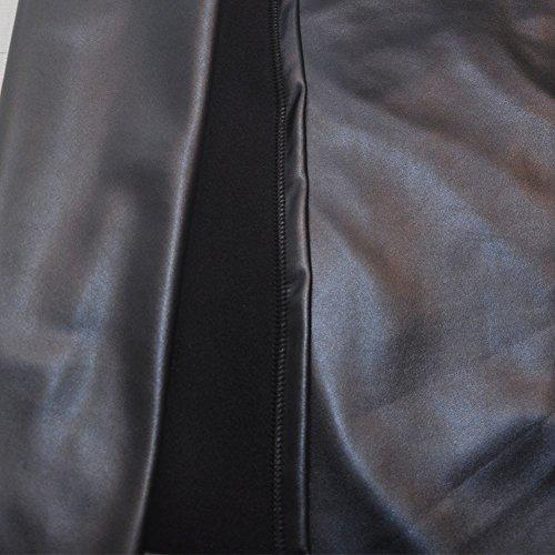Minetom Femmes Sexy Vintage Taille Haute Midi Jupe En Cuir PU Elastiquée Moulante Bodycon OL Crayon Skirt Clubwear Gris