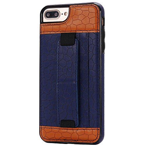 """iPhone 7 4,7"""" Case Hülle mit Kartenfach Kredit Karten Hülle Kunst Leder Handy Schutzhülle von Harrms,Stil 1 - Weiß Stil 1 - Blau"""