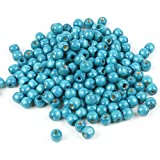 TRIXES 220 Cuentas de 12 mm en Madera Cian Azul para Joyería Artística, Collares Brazaletes