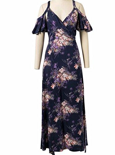 PW V-Ausschnitt trägerlosen Rüschen gedruckt Schlitz sexy Strap Kleid, M (Trägerlosen Kleid Baumwolle Bestickt)