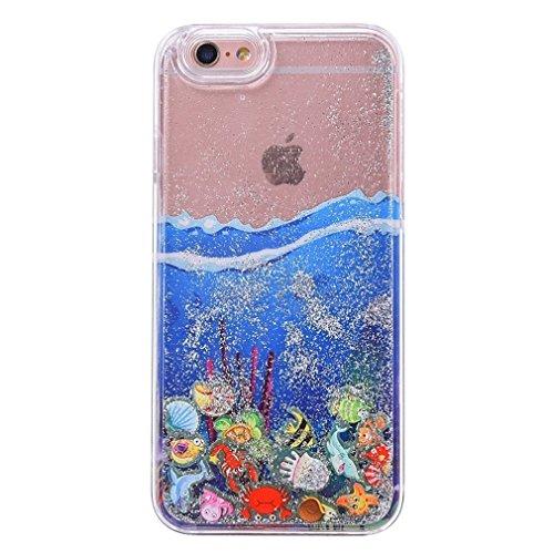Glitzer Hülle für iPhone 6S,iPhone 6 Hülle,iPhone 6 Hülle Transparent Crystal Bling Glitzer Flüssig Case Hülle Klare Ultradünne Plastik Gel Schutzhülle für iPhone 6S / 6 4.7 Zoll,EMAXELERS iPhone 6S H Ocean Liquid 1