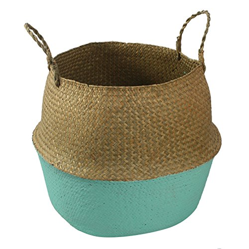 Foldable Straw Storage Basket Hand-Woven Dirty Clothes Fruit Toys Storage Organizer Container Shopping Bag Plant Fruit Flower Pots-M