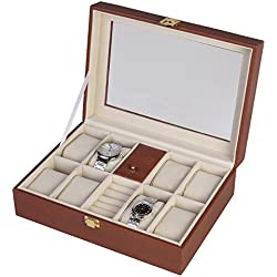 Window Watch & Jewellery Case 10-Slot PU Leather Glass Display Top Organizer Box