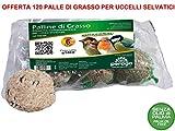 120 Palle di Grasso MANGIME 90GR No Olio di Palma Cibo per Uccelli Selvatici
