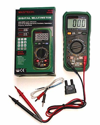 Digital-Multimeter MY74 3,5-stellig (24mm Ziffernhöhe) mit 32 Meßbereichen (5x Gleichspannung, 4x Wechselspannung, 4x Gleichstrom, 3x Wechselstrom, 7x Widerstand, Diodentest, Transistortest, Akustischer Durchgangsprüfer, 5x Kapazität, Temperatur, Frequenz) mit Data Hold, Auto power off und Low-Battery-Anzeige. -