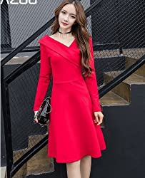Long Sleeve Dress Strapless Two Women Make Dresses ,Red,s